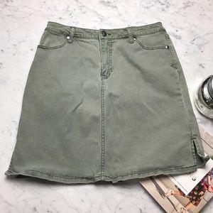 Bit & Bridle Vintage Style Green Denim Jean Skirt